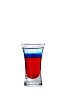 The Bastille Bomb - The Bastille Bomb shot is made from grenadine, blue curacao and Cointreau, and served in a shot glass.