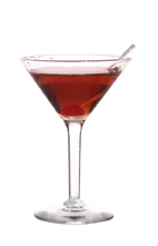 Vanilla Manhattan - The Vanilla Manhattan cocktail is made from vanilla vodka, sweet vermouth and Angostura Bitters, and served in a cocktail glass.