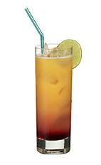 Virgin Hurricane - The Virgin Hurricane drink is a non-alcoholic mix of orange juice, sour mix, passionfruit syrup and grenadine, and served in a highball glass.
