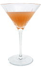 The A.J. Cocktail is made from Apple Brandy and grapefruit juice, and served in a cocktail glass.