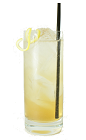 The Apricot Fizz is made from Apricot Brandy, fresh lemon juice, sugar syrup and club soda, and served in a chilled highball glass.