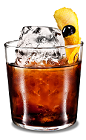 The Lemon Black Russian drink is a modern variation of the classic Black Russian drink, made from Kahlua coffee liqueur, vodka and lemon, and served in an old-fashioned glass.