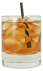 The Black Dog drink is made from Bourbon, Dry Vermouth and Blackberry Brandy, and served in an old-fashioned glass.