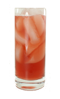 The Blizzard drink is made from Bourbon, cranberry juice, fresh lemon juice and bar sugar, and served in a chilled highball glass.