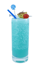 The Blue Hawaiian drink is made from white rum, blue curacao and coconut cream, and served in a highball glass.