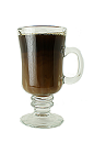 The Cafe Royal drink is made from Brandy, sugar, hot black coffee and half-and-half, and served in an Irish coffee glass.