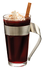 The Hot PAMA Cocoa drink is made from PAMA Pomegranate Liqueur and hot cocoa, and served in a coffee glass.