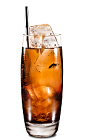 The Ginger Kahlua drink is made from Kahlua coffee liqueur and ginger ale, and served in a highball glass.