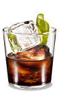 The Kahlua Lime Rocks drink is made from Kahlua coffee liqueur and fresh lime, and served in an old-fashioned glass.