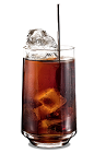 The Kahlua Root Beer drink is made from Kahlua coffee liqueur and root beer, and served in a highball glass.