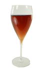 The Kir Royale is made from Champagne and Crème de Cassis, and served in a wine glass.
