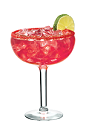 The Margarita PAMA drink is made from tequila, PAMA Pomegranate Liqueur, triple sec, lime juice and simple syrup, and served in a margarita glass.