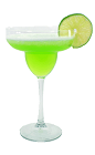The Midori Margarita is made from Midori Melon Liqueur, Silver Tequila and margarita mix, and served in a margarita glass.