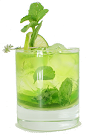 The Midori Melon Mojito is made from Midori, light rum, mint leaves, lime and club soda, and served in an old-fashioned glass.
