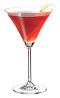 The PAMA Kiss cocktail is made from PAMA Pomegranate Liqueur, apple vodka and cranberry juice, and served in a chilled cocktail glass.