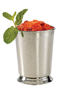 The Mint Julep PAMA is a variation on the classic Mint Julep (THE Kentucky Derby Drink), made from bourbon, PAMA Pomegranate Liqueur, mint and sugar cubes, and served in an old-fashioned glass.