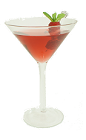 The Razzmopolitan is made from Stoli Razberi Vodka, Cointreau, lime juice and cranberry juice, and served in a cocktail glass.