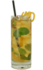 The Sleepy Head drink is made from Brandy, mint leaves and ginger ale, and served in a chilled highball glass.