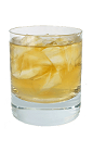 The Snarky Punch is made from Calvados, Canadian Whiskey, sugar and club soda, and served in a chilled old-fashioned glass.