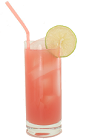 The Last High Drink is made from Orange Curacao, Malibu Rum and guava juice, and served in a highball glass.