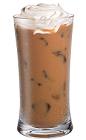 The Whipped Latte drink is made from Kahlua coffee liqueur, whipped vodka, half-and-half and coffee, and served over ice in a highball glass.