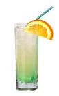 The Acid Banana drink is made from Pisang Ambon, Sourz Apple, grapefruit juice and lemon-lime soda, and served in a highball glass.