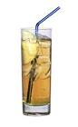 The Adams Apple drink is made from vodka, galliano and apple juice, and served in a highball glass.