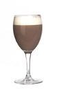 The After Ski Relaxer drink is made from creme de menthe, cognac and hot cocoa, and served in a white wine glass.