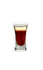 The After Twelve shot is made from dark creme de cacao and creme de menthe, and served in a shot glass.