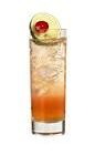 The Almen Almen drink is made from vodka, Licor 42, Passoa and lime juice, and served in a highball glass.