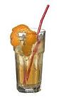 The American Horses Neck drink is made from bourbon, Angostura Bitters and ginger ale, and served in a highball glass.