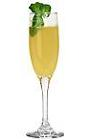 The Bucks Fizz drink is made from champagne and fresh orange juice, and served in a champagne flute.