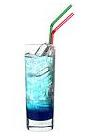 The Blue Boat drink is made from vanilla vodka, Sourz Tropical Blue and lemon-lime soda, and is served in a highball glass.