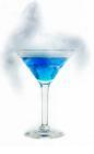 The Blue Ice cocktail is made from vodka, blue curacao and lime juice, and served in a cocktail glass. To add the fog, use a little dry ice. Warning: if you use dry ice, make sure that it fully sublimates prior to drinking.