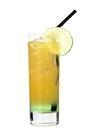 The Brazilian Sunrise drink is made from vanilla vodka, Sourz Apple and orange soda, and served in a highball glass.