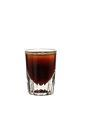 The Calypso shot is made from dark rum and dark creme de cacao, and served in a shot glass.