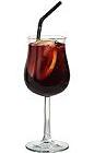 The Cardinale drink is made from creme de cassis and red wine, and served in a wine glass.