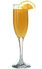 The Champagne Napoleon drink is made from Mandarine Napoleon, orange juice and champagne, and served in a champagne flute.
