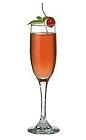 The Champs-Élysées drink is made from Cointreau, strawberry liqueur and champagne, and served in a champagne flute.