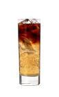 The Dark Angel drink is made from black vodka, Jaegermeister and Red Bull, and served in a highball glass.