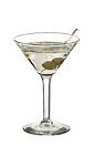 The Dry Martini cocktail is made from dry gin and dry vermouth, and served in a cocktail glass.
