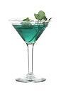 The Madonna cocktail is made from vodka, peach liqueur, kiwi liqueur and blue curacao, and served in a cocktail glass.
