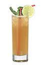 The Flow drink is made from white rum, lime sour mix, sugar syrup and passionfruit juice, and served in a highball glass.