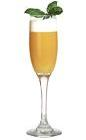 The Freska Nova drink is made from Mandarine Napoleon, orange juice and sugar syrup, and served in a champagne flute.