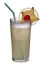 The Greyhound drink is made from vodka, grapefruit juice and egg white, and served in a highball glass.