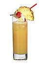 The Hallululo drink is made from gin, apricot brandy, orange juice and pineapple juice,a nd served in a highball glass.
