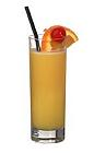 The Harvey Wallbanger drink is made from vodka, orange juice and Galliano, and served in a highball glass.