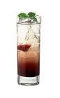 The Henrietta drink is made from scotch, creme de cassis and club soda, and served in a highball glass.