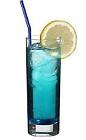 The Polar Bear drink is made from vodka, blue curacao and lemon-lime soda, and served in a highball glass.