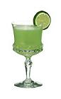 The Japanese Slipper cocktail is made from Cointreau, Midori and lime juice, and served in a cocktail glass.